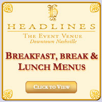 Headlines Breakfast, Break and Lunch Menus